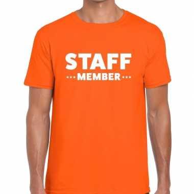 Staff member / personeel tekst oranje heren t-shirt kopen