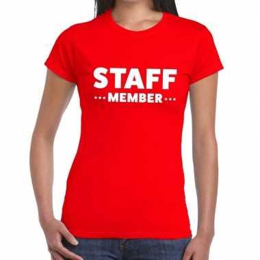 Staff member / personeel tekst rood dames t-shirt kopen