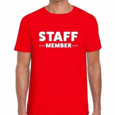 Staff member / personeel tekst rood heren t-shirt kopen