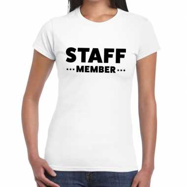 Staff member / personeel tekst wit dames t-shirt kopen