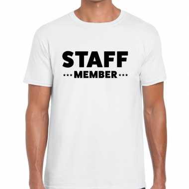 Staff member / personeel tekst wit heren t-shirt kopen