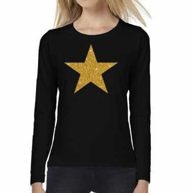 Ster goud glitter long sleeve zwart dames t-shirt kopen