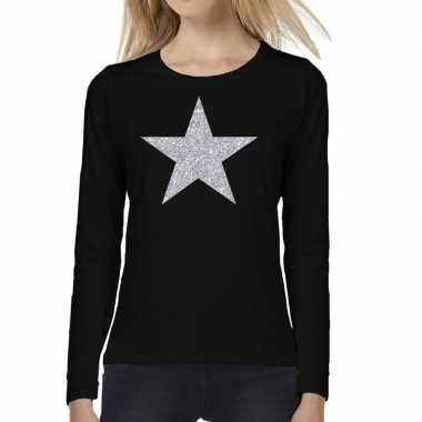 Ster zilver glitter long sleeve zwart dames t-shirt kopen