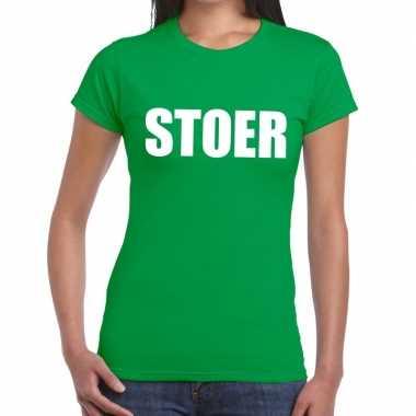 Stoer tekst groen dames t-shirt kopen