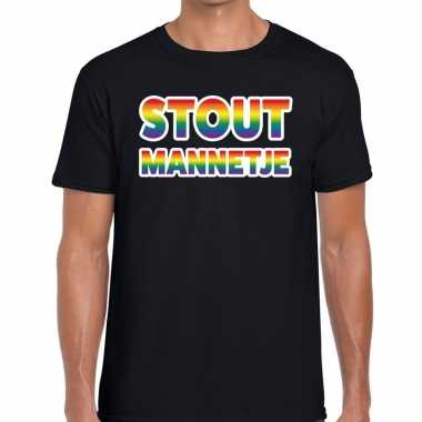 Stout mannetje regenboog gaypride zwart heren t-shirt kopen