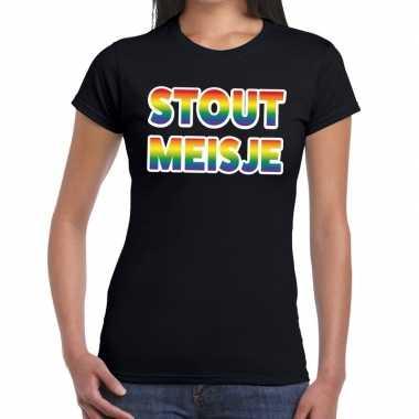 Stout meisje gay pride zwart dames t-shirt kopen