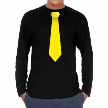 Stropdas geel long sleeve zwart heren t-shirt kopen