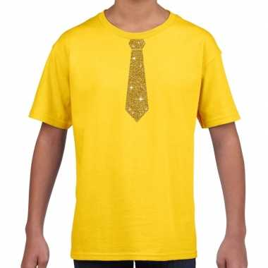 Stropdas goud glitter geel kinderen t-shirt kopen