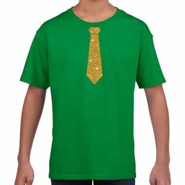 Stropdas goud glitter groen kinderen t-shirt kopen