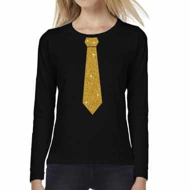Stropdas goud glitter long sleeve zwart dames t-shirt kopen