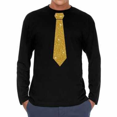 Stropdas goud glitter long sleeve zwart heren t-shirt kopen