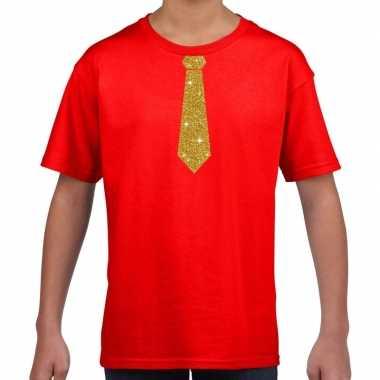 Stropdas goud glitter rood kinderen t-shirt kopen