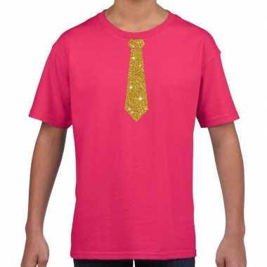Stropdas goud glitter roze kinderen t-shirt kopen