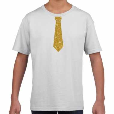 Stropdas goud glitter wit kinderen t-shirt kopen