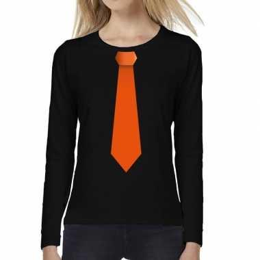 Stropdas oranje long sleeve zwart dames t-shirt kopen