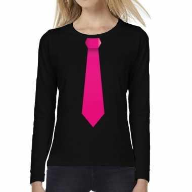 Stropdas roze long sleeve zwart dames t-shirt kopen