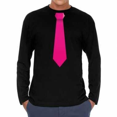 Stropdas roze long sleeve zwart heren t-shirt kopen