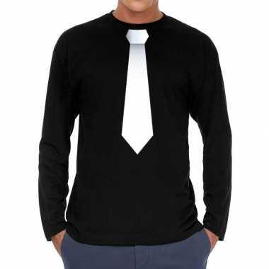 Stropdas wit long sleeve zwart heren t-shirt kopen