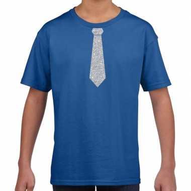 Stropdas zilver glitter blauw kinderen t-shirt kopen