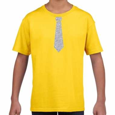 Stropdas zilver glitter geel kinderen t-shirt kopen