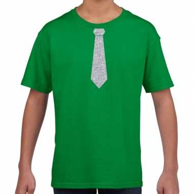 Stropdas zilver glitter groen kinderen t-shirt kopen