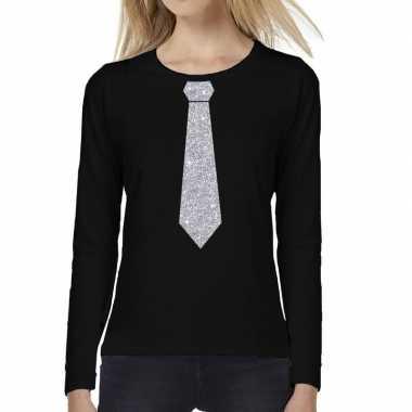 Stropdas zilver glitter long sleeve zwart dames t-shirt kopen