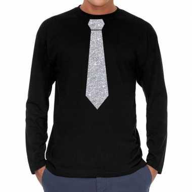 Stropdas zilver glitter long sleeve zwart heren t-shirt kopen
