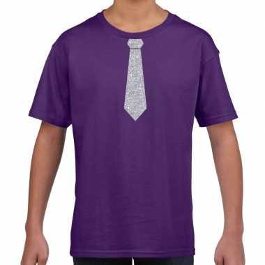 Stropdas zilver glitter paars kinderen t-shirt kopen