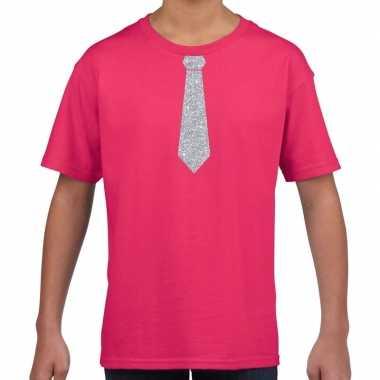 Stropdas zilver glitter roze kinderen t-shirt kopen