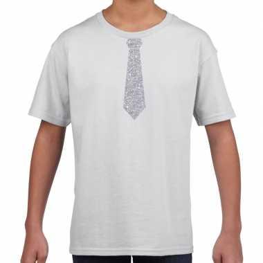 Stropdas zilver glitter wit kinderen t-shirt kopen