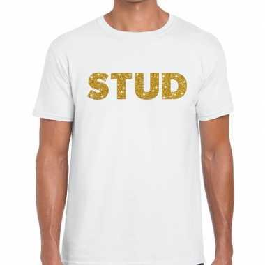 Stud goud glitter tekst wit heren t-shirt kopen
