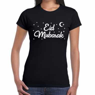 Suikerfeest eid mubarak zwart dames t-shirt