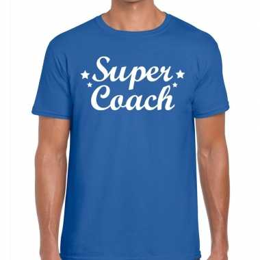 Super coach cadeau blauw heren t-shirt kopen