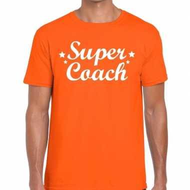 Super coach cadeau oranje heren t-shirt kopen