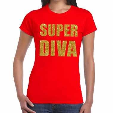 Super diva glitter tekst rood dames t-shirt kopen