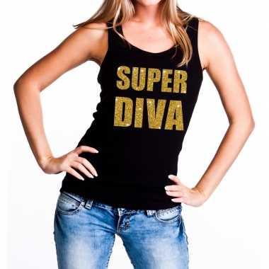Super diva glitter tekst tanktop / mouwloos zwart dames t-shirt kopen
