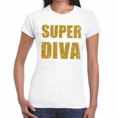 Super diva glitter tekst wit dames t-shirt kopen