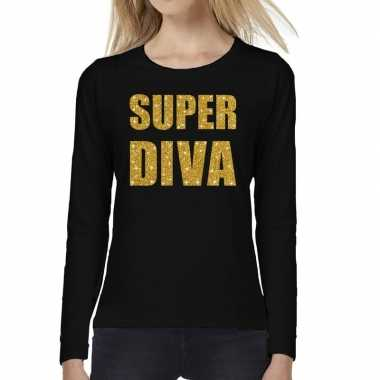 Super diva goud glitter long sleeve zwart dames t-shirt kopen