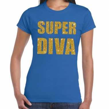Super diva gouden glitter tekst blauw dames t-shirt kopen
