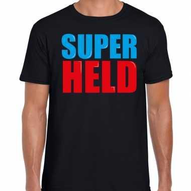 Super held fun tekst zwart heren t-shirt kopen