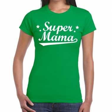 Super mama cadeau groen dames t-shirt kopen