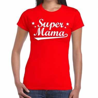Super mama cadeau rood dames t-shirt kopen