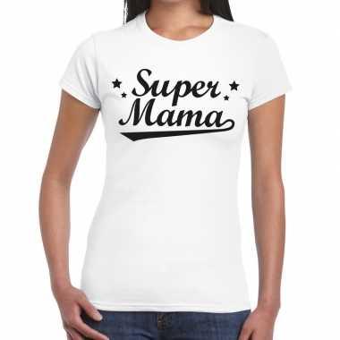 Super mama cadeau wit dames t-shirt kopen