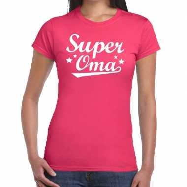 Super oma cadeau roze dames t-shirt