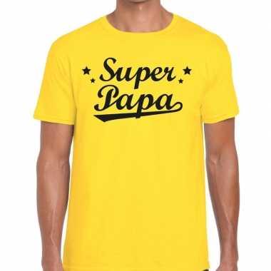 Super papa cadeau geel heren t-shirt kopen