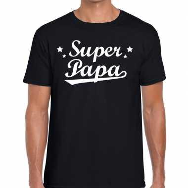 Super papa cadeau zwart heren t-shirt kopen