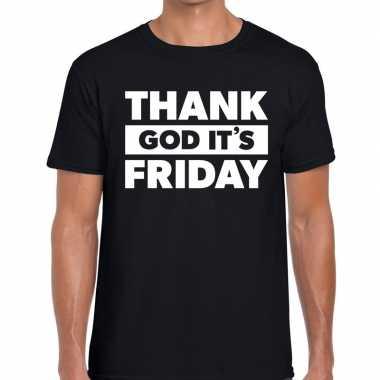 Thank god it is friday tekst zwart heren t-shirt kopen
