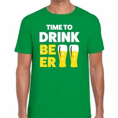 Time to drink beer tekst groen heren t-shirt kopen