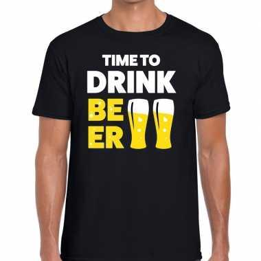 Time to drink beer tekst zwart heren t-shirt kopen