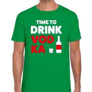 Time to drink vodka tekst groen heren t-shirt kopen